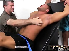 Men shaved legs pron and licking old gay mans feet Muscular