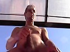 HOT SHOWER OF CUM, HAIRY NAKED, ON A PUBLIC TERRACE, EURO AMATEUR SOLO MALE