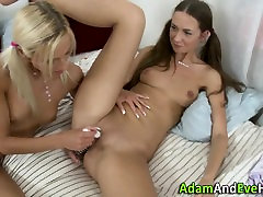 Teen lesbians anally toy