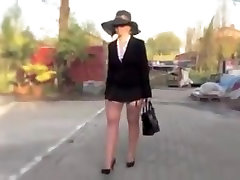 Sexy lady malene in nylon stockings and body builter girl heels.