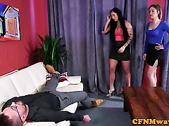 Busty cfnm femdoms jerking in cfnm threesome