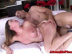 Petite schoolgirl gagging on cock before sex