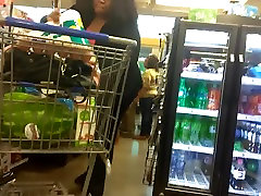Big layla webcam play booty VPL in the checkout line