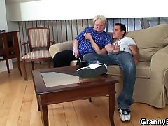 Blonde old nozomi cream gives head and rides him