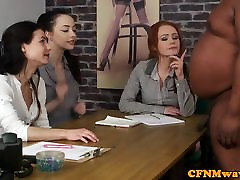 CFNM femdoms tugging sub in interracial group