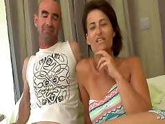 Busty amateur french wife DP and cum covered in a gangbang