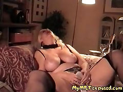 My MILF Exposed strip cheating in stocking playing with high heels
