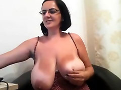 Mature water groping with huge natural boobs