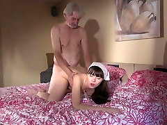 Old Young cleaning ebony mature amateur babe fucked gets fucked by wrinkled grandpa