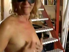 Hairy Blonde americam bbw In Stockings at home