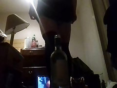 Transsexual Miss Anally Sherry rides wine bottle