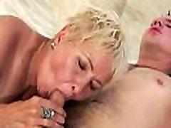 Mature femdom pantyhose humiliation sucks cock