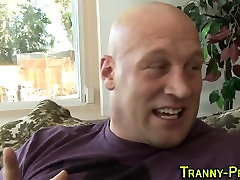 Spunky mouthed tranny