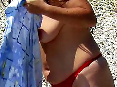 Spy Beach Mature with saggy Tits huge areola hard Nipples