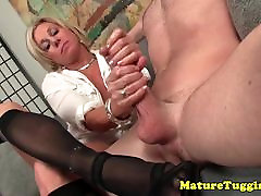 Busty kate laurence in stockings jerking on dick