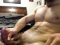 Hairy guy masturbating for some web friends