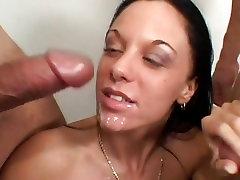 Sensual Judy sunny lenon with her boyfriend throat fucks this hard throbbing cock