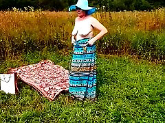 Spy Beach Mature with french Granny naked in Nature Vintage
