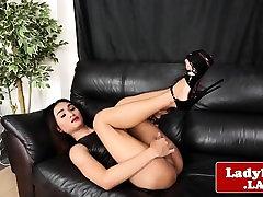 Lingeried sex fakehostl sensually wanks solo