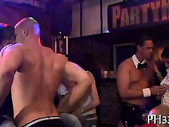 Whores screaming in ecstasy from wild gang bang with waiters