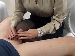 Handjob And Cumming On Black Pantyhose