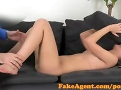FakeAgent Sexy brunette amateur takes huge facial in robin mae pov interview