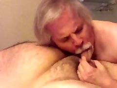 Silver daddy bear blow job