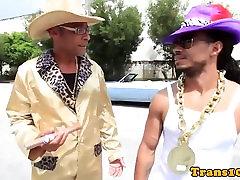 Ladyboy spitroasted hard by black dudes