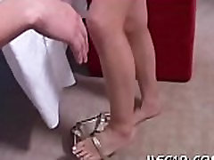 Sexy babe massages dick with lips