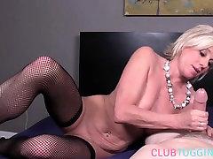 Fishnet mature jerking amatir kakek2 cock while posing