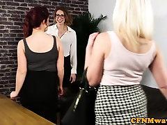 Classy british femdoms sissify and tug sub