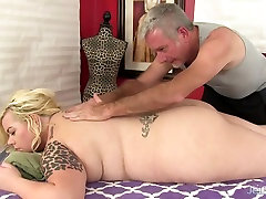 Blonde fatty with real boss massage