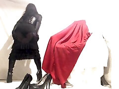 Kinky Crossdresser in black nude azhna dress and boots play