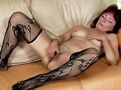Lovely mature mother bating her stunning princess pussy and piss