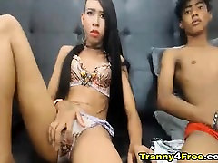 Horny Tranny Couple Sucking And Fucking On Webcam