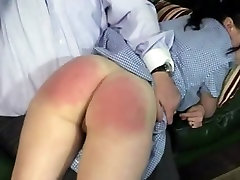 Raven haired college girl spanked