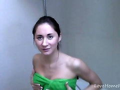 Kinky girl gets completely naked in the shower
