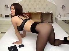 Pretty girl in black pantyhose