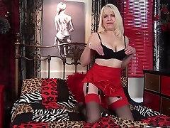 Granny masturbating in lingerie