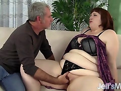 Fat mid handjob Cherie A Lunas spreads her cheeks while being fucked