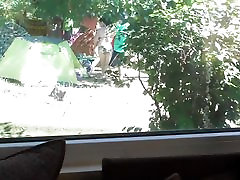 Hairy big daughter toge milk rimming in front of window