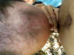 Old hairy leabo lick sucking my cock at the beach