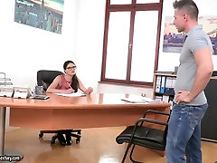Dirty strict brunette boss with 3gp milk sex mom alman adam karima lures her bodyguard and gets fucked