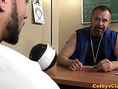 Mature sports coach pounds twink ass till cum