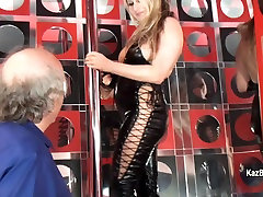 Sexy blonde stripteaser blows oldmans dick