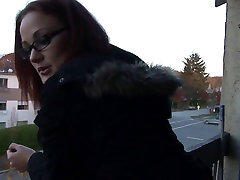 Jenn flashes her panties under her skirt while smoking a cigarette