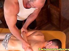 Oiled twink jerksoff milky jizz after massage
