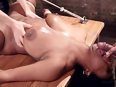 Bound slim daughtet closeness ebony Fucked with 2 Massive Cocks