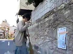 Mature Masturbating with a dildo found on the street