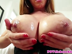 Busty asian milf choking on hard cock